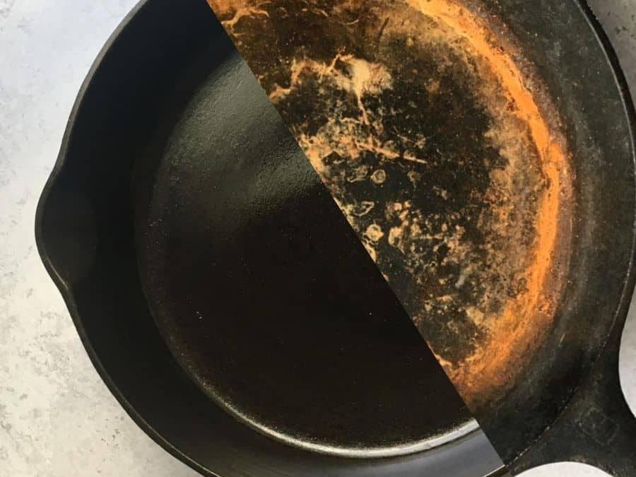 before and after photo of cast iron skillet restoration