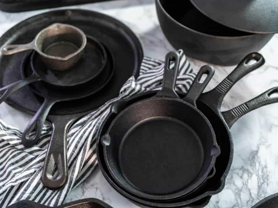 cast iron skillets in a variety of sizes