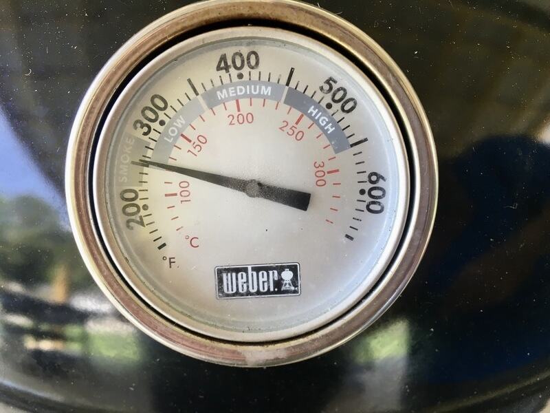 grill thermometer with reading of 250 degrees