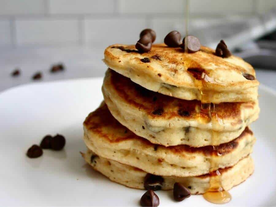 just add water muffin mix pancakes stacked up on a plate