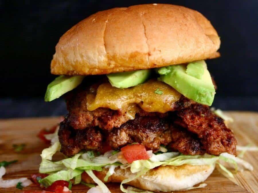 taco chorizo burger on a cutting board