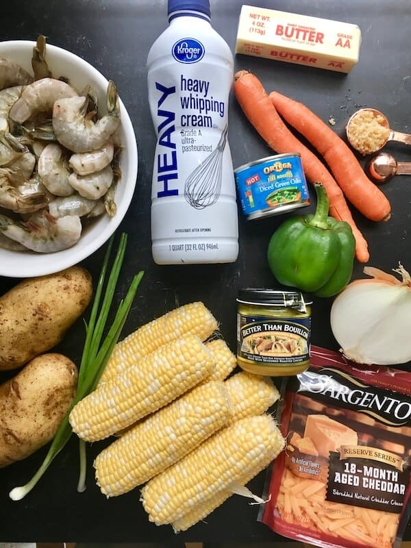 ingredients for shrimp and corn soup