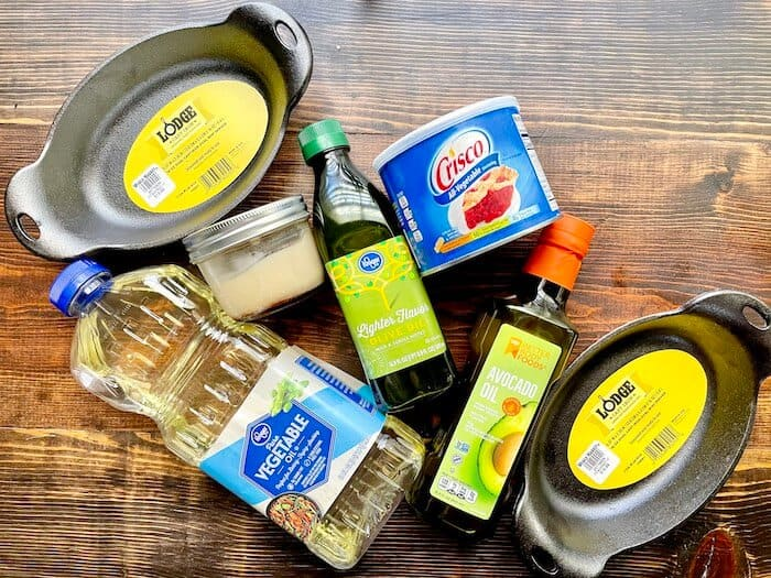 avocado oil, vegetable oil, olive oil, and crisco with cast iron pans