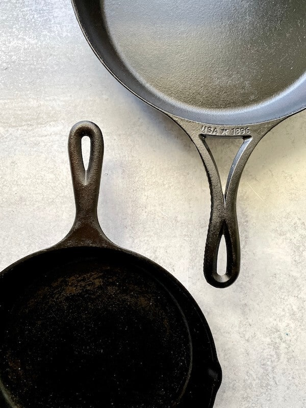 handles of the lodge blacklock skillet and the lodge classic skillet