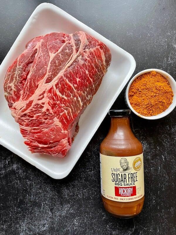chuck roast, barbecue sauce and seasoning