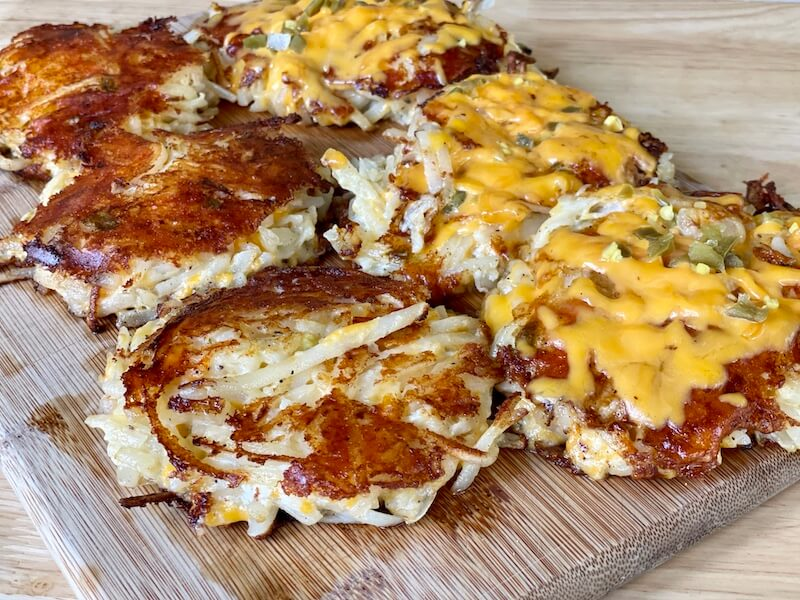 hashbrown casserole griddle cakes on a cutting board